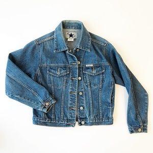 Vintage Medium Wash Jean Jacket Denim Cropped i41